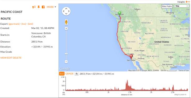 Vancouver to Tijuana Routemap