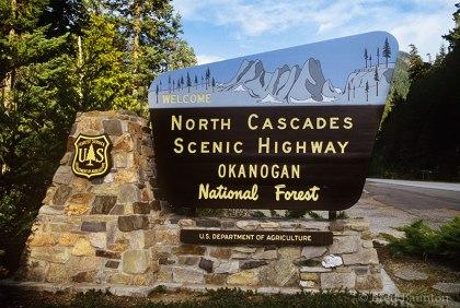North Cascades Scenic Highway, Okanogan National Forest, Sign, Washington